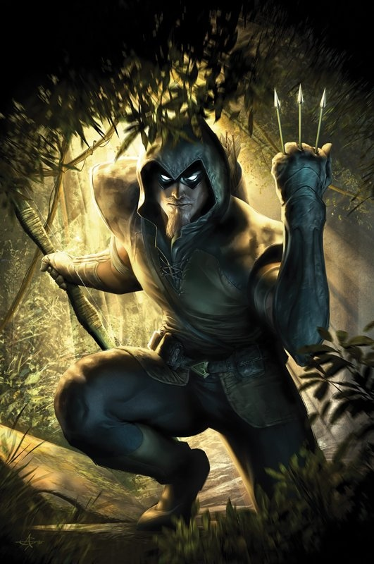Ollie Queen/Green Arrow I/Powers-Superb Archer, Peak Physical Condition, Highly Trained Martial Artist, Swordsman, and Athlete
