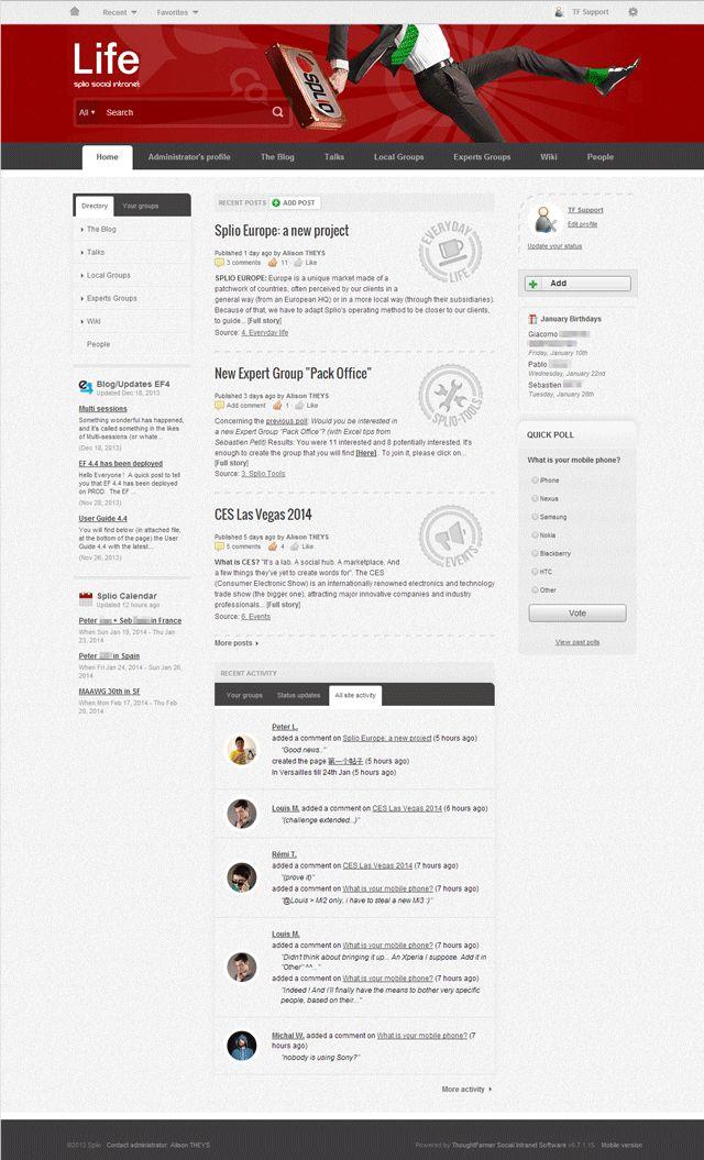 Splio ThoughtFarmer Intranet Home Page