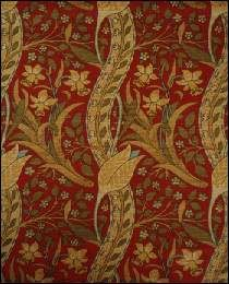 Classic Arts & Crafts Fabric - 'Trent' - Red fabric with gold floral design