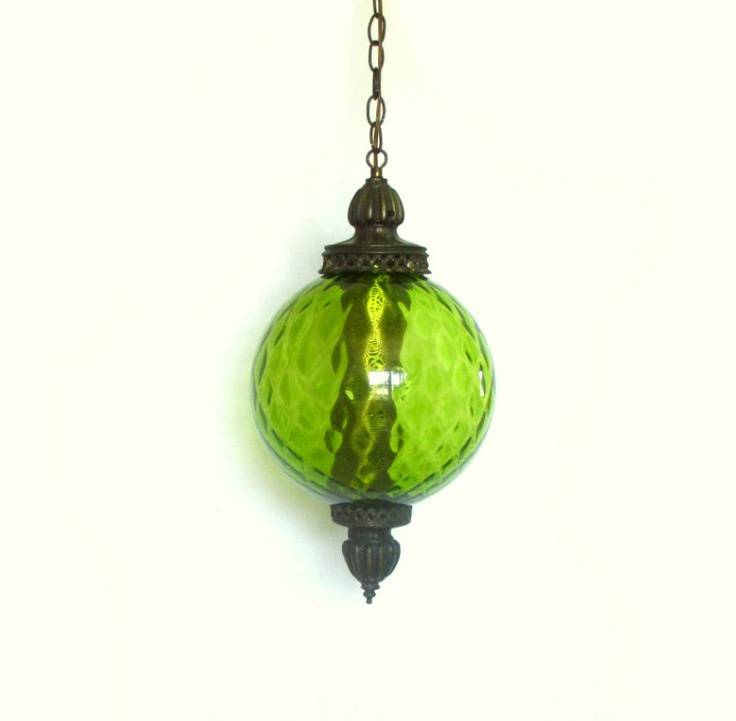1970s pendant lamp, hanging swag light, #vintage #etsy