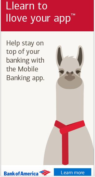 Love this llama campaign for the Bank of America banking app