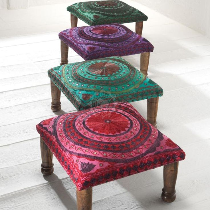 Jaipur Mirror Work Indian Footstool Purple 45x45x20cm - Indian Furniture | Elephant Interiors