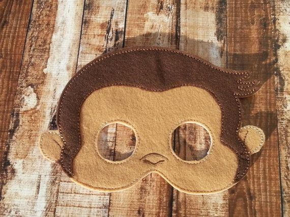 Curious George Felt Mask by Pluzzies on Etsy