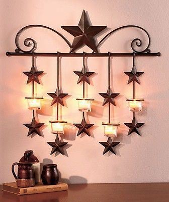Metal Wall Sconce CandleholderLight Your Home With The Country Charm Of The  Rustic Star Home Decor. The Metal Wall Sconce