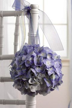 Floral Pomander Ball-  Hydrangeas are beautiful and here they are brilliant in blue!