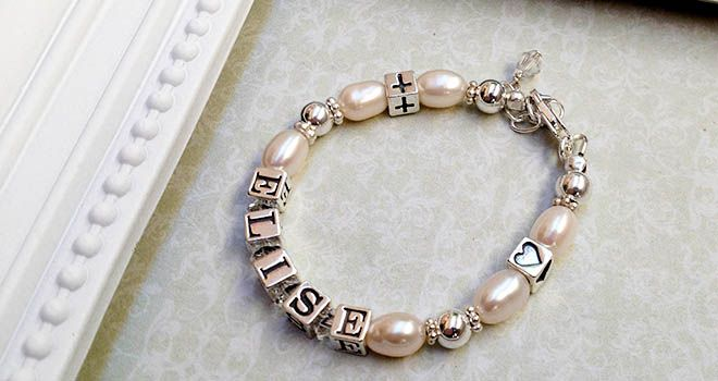 Silver and Pearl Christening Name Bracelet. Find it at www.giftedmemoriesjewellery.com.au