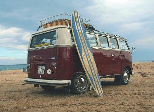 Beach Surfboard VW Van