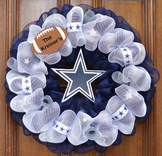 Personalized Dallas Cowboys Wreath with Logo by AvaLoryn on Etsy