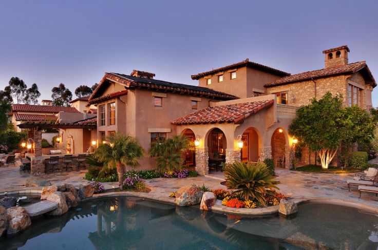 Mediterranean Tuscan Style Home House Back View