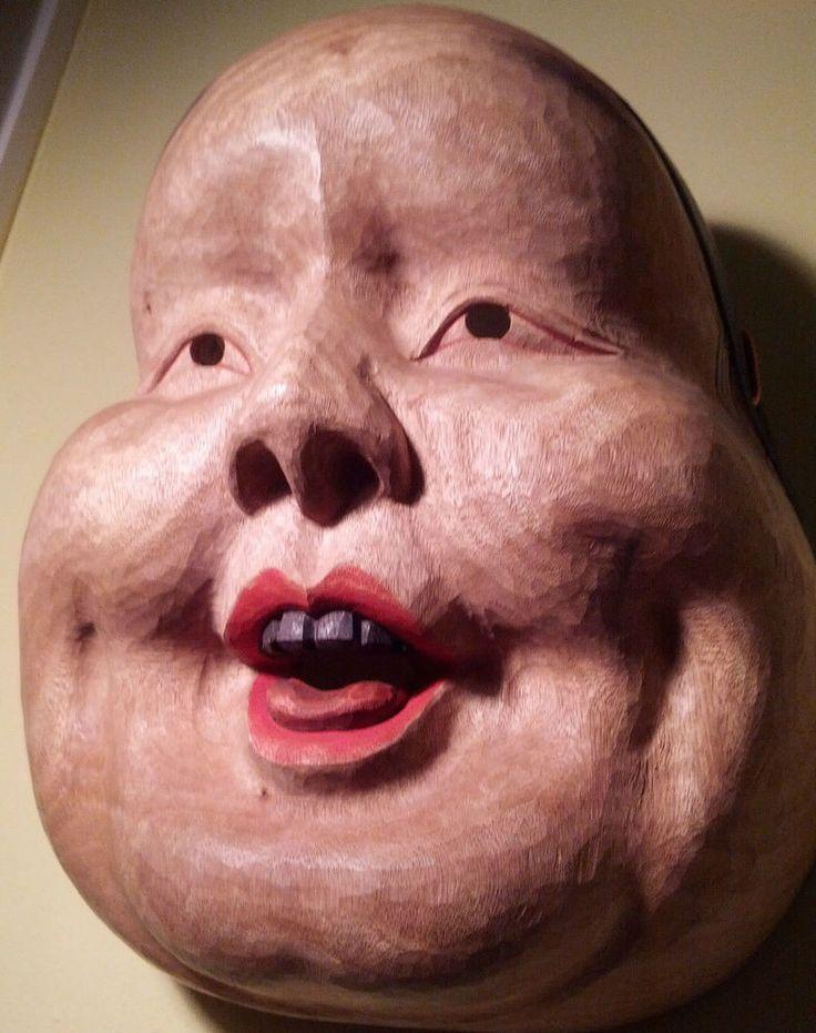 Japanese Okame (Otafuku) Masterfully Carved Fine Art  - OVERSIZED Wooden Mask