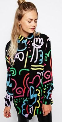 Oversized Shirt With Neon Squiggle Print