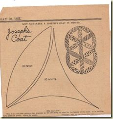 Another old (Kansas City Star?) design for Joseph's Cost quilt block