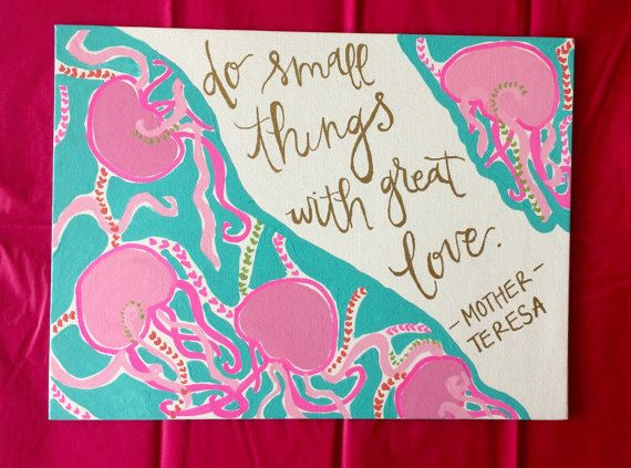 Big Little Sorority - Lilly Inspired Canvas - Do Small Things With Great Love Quote Canvas - Preppy Wall Art - Custom Canvas