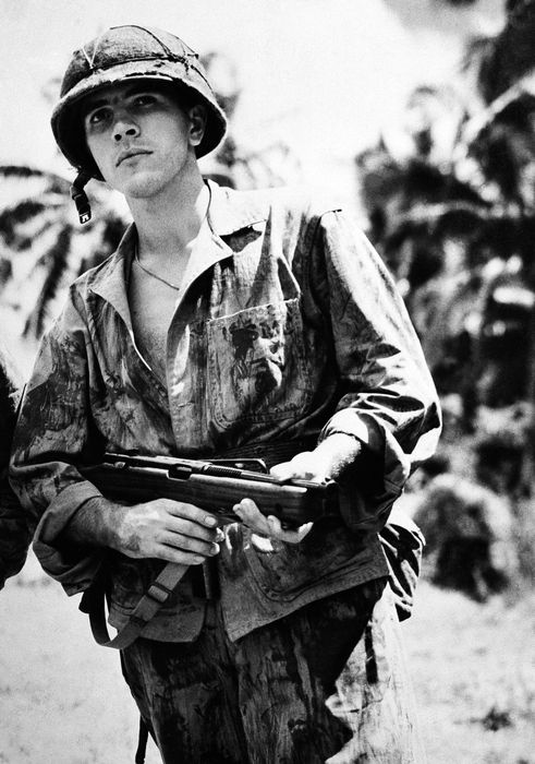 Sergeant Michael Strank (10 Nov 1919–1 Mar 1945) was one of the six Marines who raised the second flag on Mt. Suribachi during the Battle of Iwo Jima. He died on Iwo Jima on 1 March 1945 when his squad came under heavy fire and was hit by friendly fire by an American shell. His death made him the first—but certainly not the last—man photographed raising the flag to die in battle.