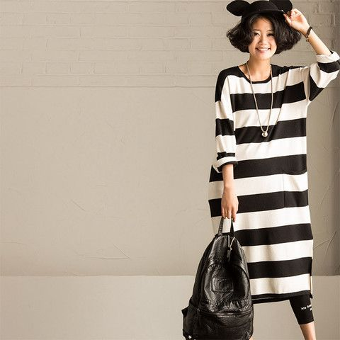 Maxi Size Big Pocket Stripe Long Dress Causel Blouse Women Clothes