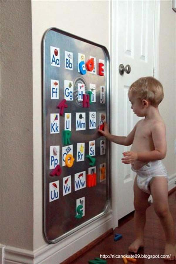 #15. Mount an oil drip pan on the wall of toddler room as a giant alphabet board.