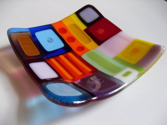 Very colorful Glass fused sushi/candy dish by sherrylee16 on Etsy