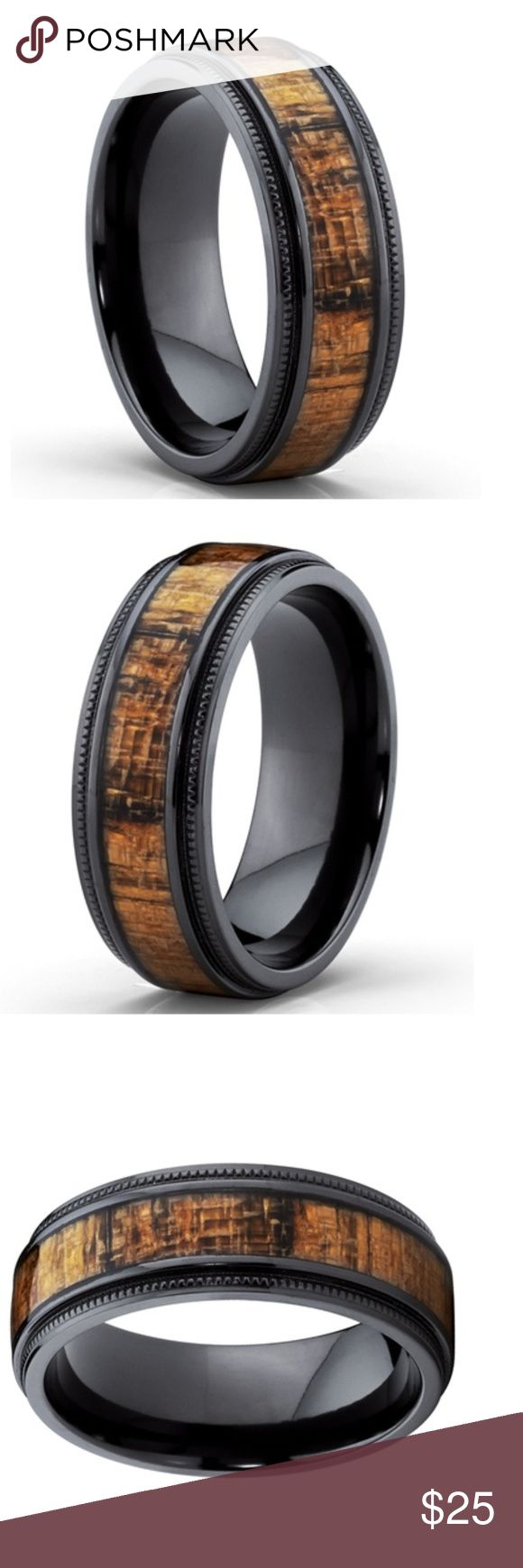 Black Titanium Wedding Band with Real Koa Wood!!! Black Titanium Wedding Band with Real Koa Wood Inlay, Milgrain Ring comfort fit 8MM Size10.5 Accessories Jewelry