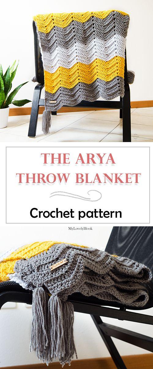 Crochet throw blanket pattern. The Arya throw blanket by MyLovelyHook