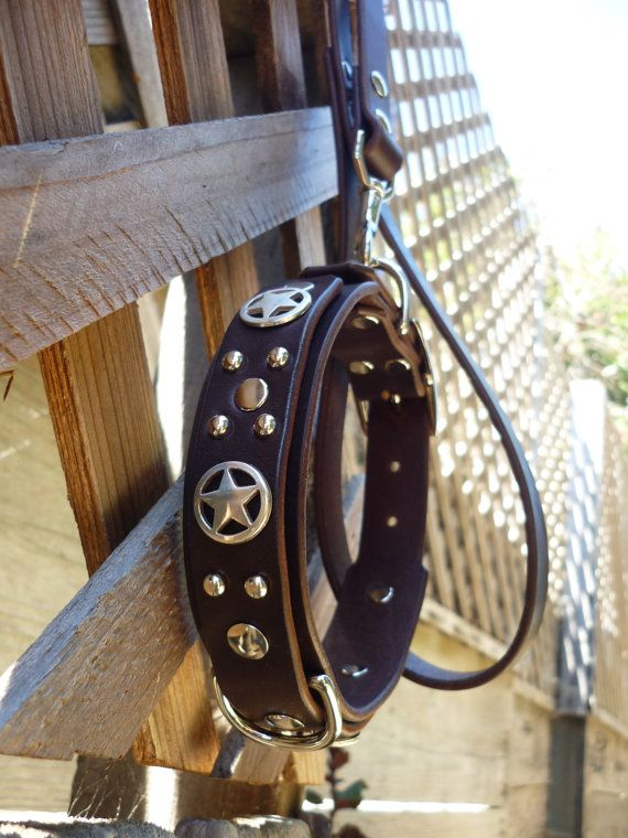"Studded Leather Dog Collar ""Obi Star"", Cute Leather Dog Collar with Stars, Custom Dog Coll... $64"