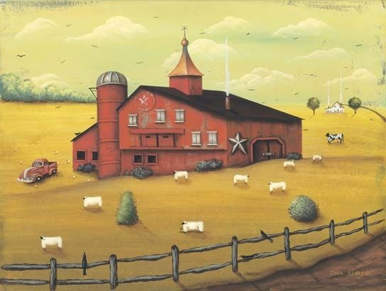 119 best Folk Art Landscapes images on Pinterest | Folk art ...