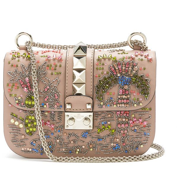 Valentino Lock small embellished shoulder bag (19,295 CNY) ❤ liked on Polyvore featuring bags, handbags, shoulder bags, nude multi, valentino purses, nude purses, leather sling purse, valentino shoulder bag and valentino handbags