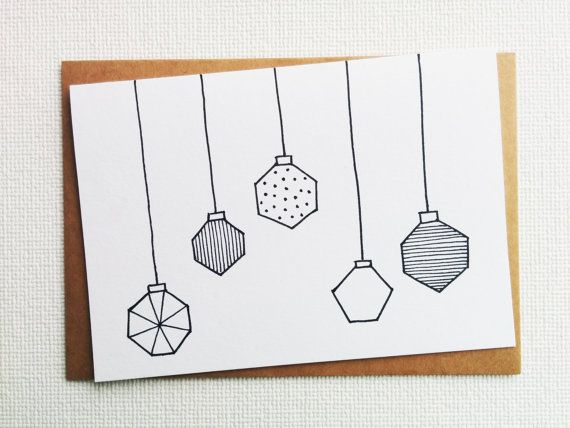 Christmas card - Kerstkaart - Card - Happy new year card - Card christmas - Holiday card - Christmas baubles - xmas - Kerstbal - Handdrawn