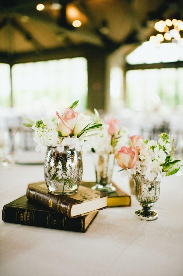 mercury glass vases + hardback books