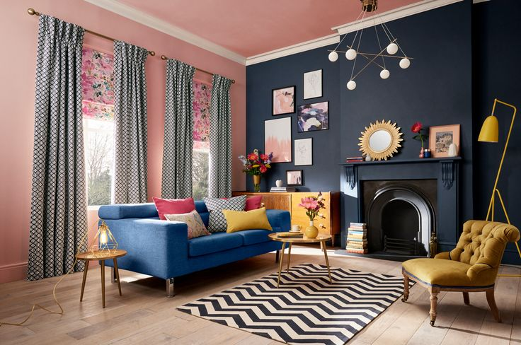 This is my interpretation of Colour Clash for Hillarys. I love the way the colours play off one another. You have the rather frivolous pink next to a serious navy and then that cheeky pop of yellow is just perfection. - Sophie Robinson #IWANTTHATSTYLE