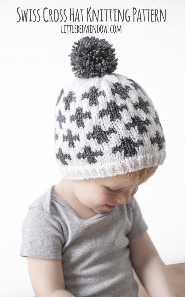 My new Swiss Cross Hat is a fun modern geometric fair isle knitting pattern!