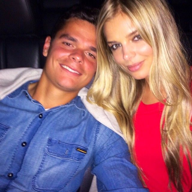 Milos Raonic and  girlfriend Danielle Knudson