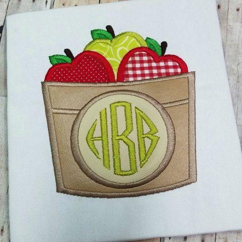 Apple Applique - Fall Applique - Basket of Apples Applique - Apple Embroidery - Fall Embroidery - Applique Design - Embroidery Design