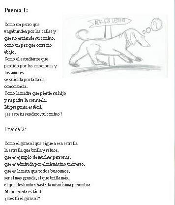 Poema de M.P. (4 ESO), siguiendo el estilo de Jesús Aguado, en Los poemas de Vikram Babu.