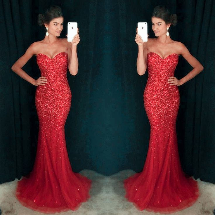 Sexy Sweetheart Prom Dresses, Red Sequin Prom Dresses,
