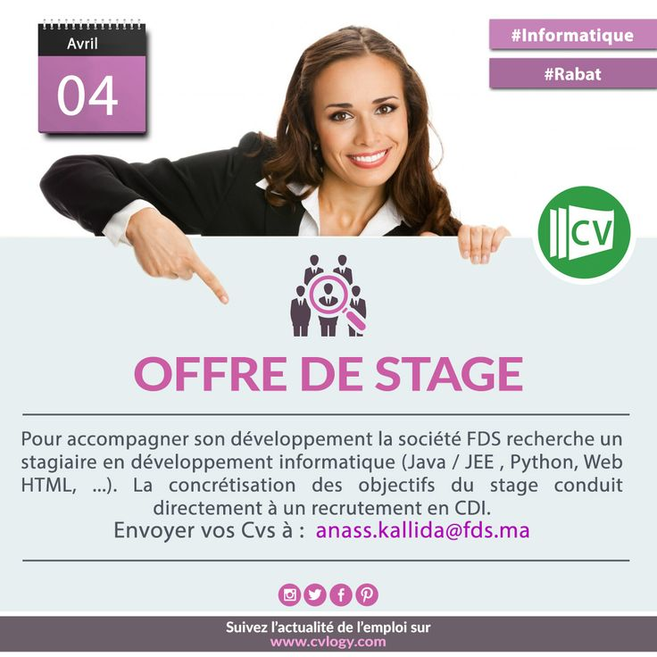 #Stage_Rabat, #développement_informatique, #FDS, #Stage_Informatique  Personnalisez votre #CV avec #CVlogy : http://www.cvlogy.com/design-cv/
