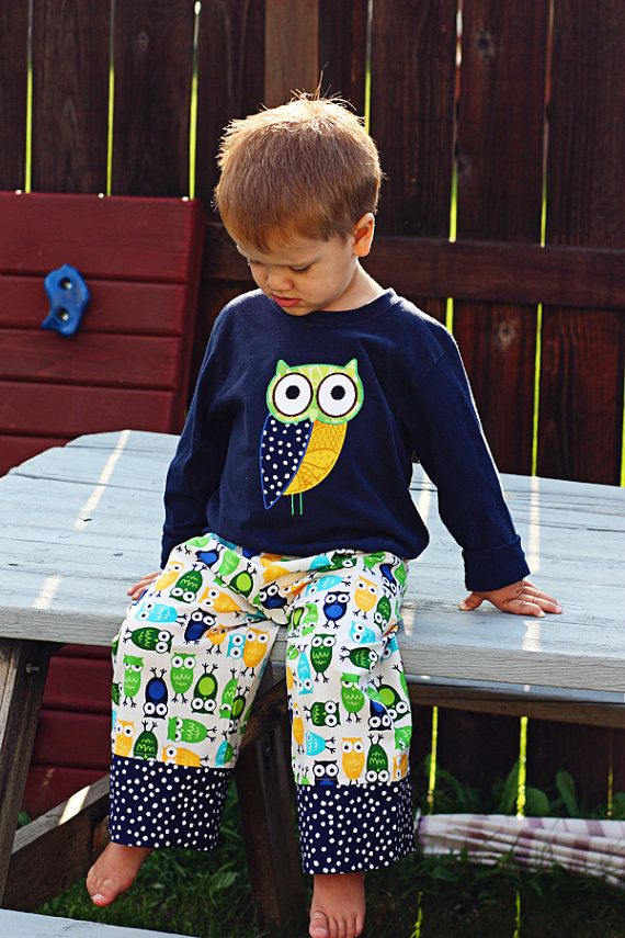 His Owls Comfy Wide Leg Lounge Pants for Babies and by babeagogo, $19.00
