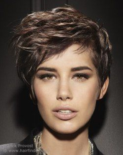 Brunette pixie cut with layers and side bangs.
