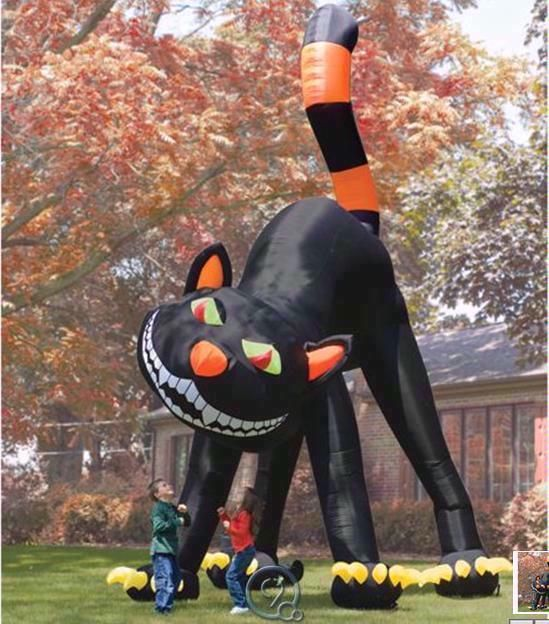 two story huge inflatable black cat outdoor halloween decoration blow up decor