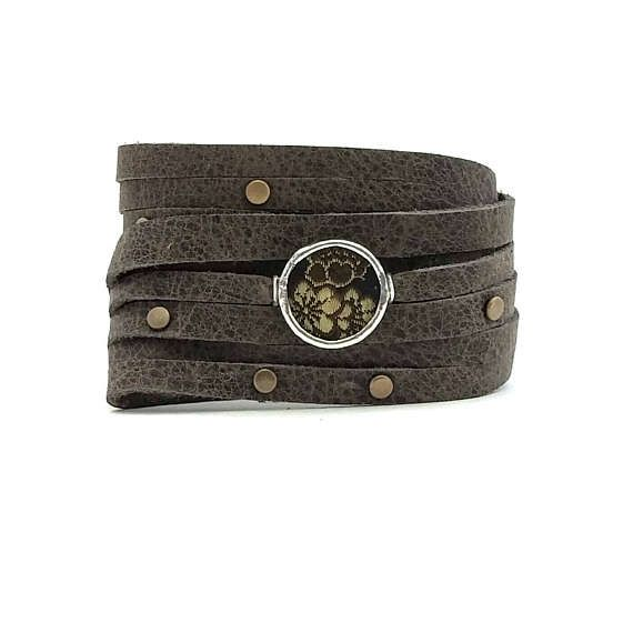 Check out this item in my Etsy shop https://www.etsy.com/ca/listing/523797071/shi-bandit-cuff-gray-leather-wrap-cuff