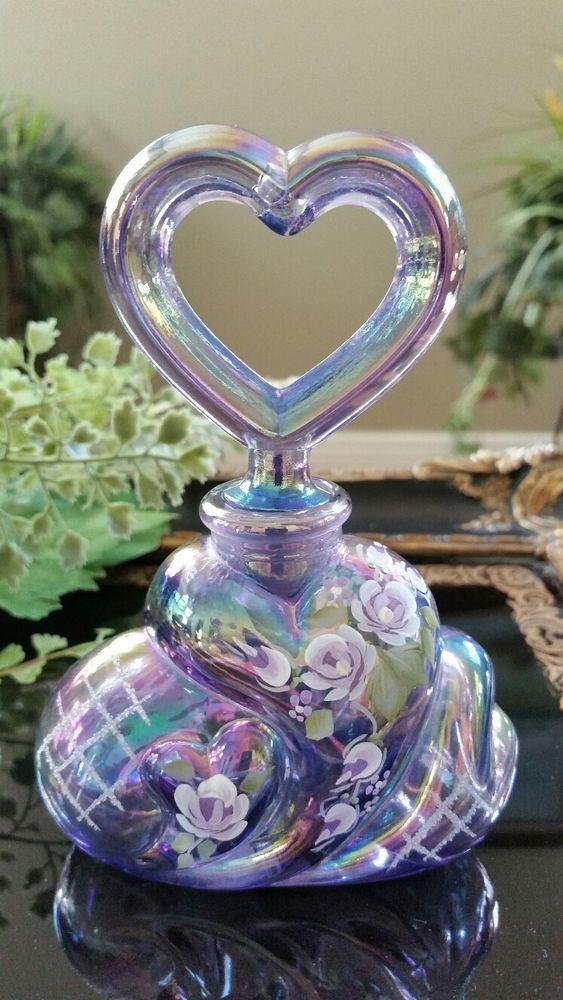 FENTON Art Carnival Glass HP Purple Perfume Bottle & Heart Stopper, Signed/Label
