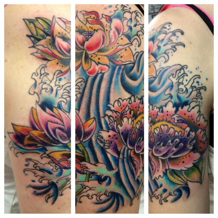 126 best tattoos images on pinterest mandalas drawings for Japanese wave and flower tattoo