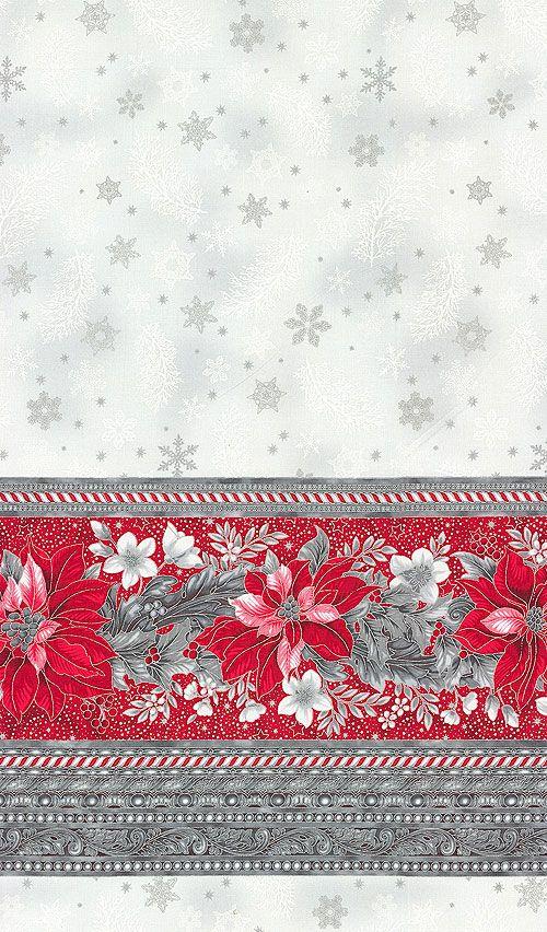 "Holiday Flourish 9 - Poinsettia Border - Gray/Silver - 56"" WIDE"