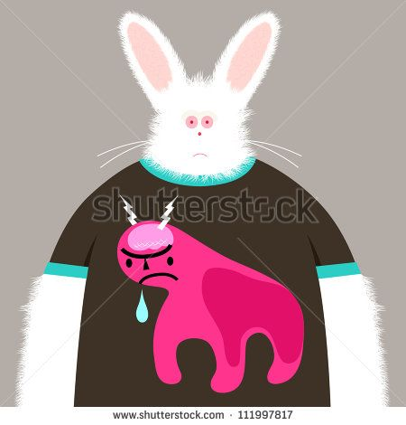 Albino rabbit character wearing a dribbling monster shirt