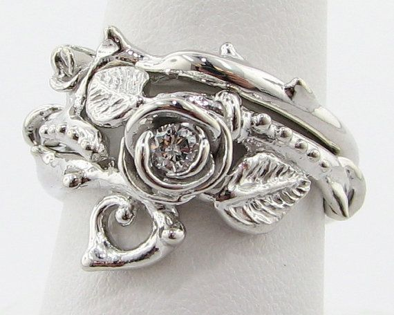 Thorned Rose Wedding Set Silver & Diamond by WexfordJewelers, $469.00