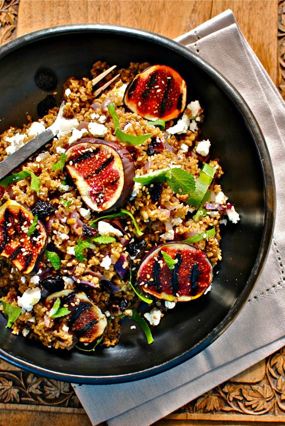 Can substitute other grains.Looks like a nice side dish for company.  Lebanese Freekeh and Fig Salad via Food To Glow