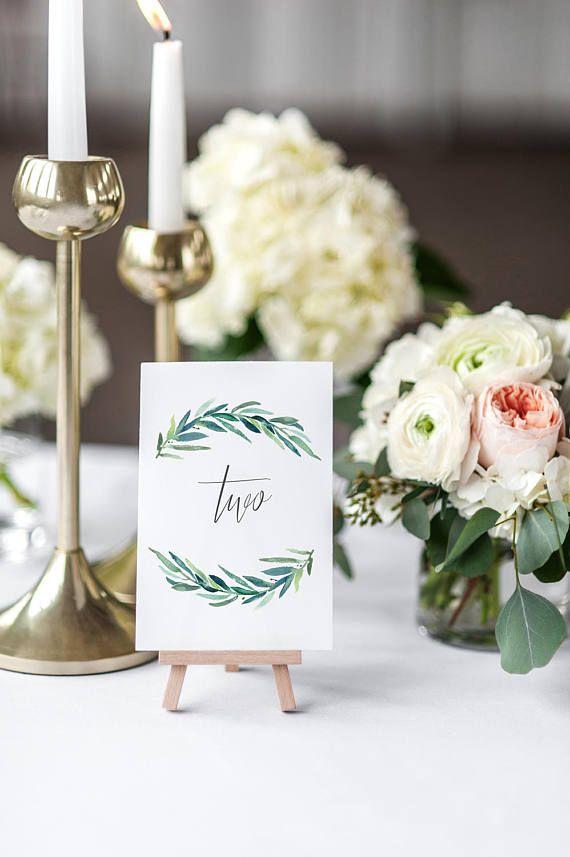 Printable Wedding Table Numbers / Watercolor Eucalyptus Wreath
