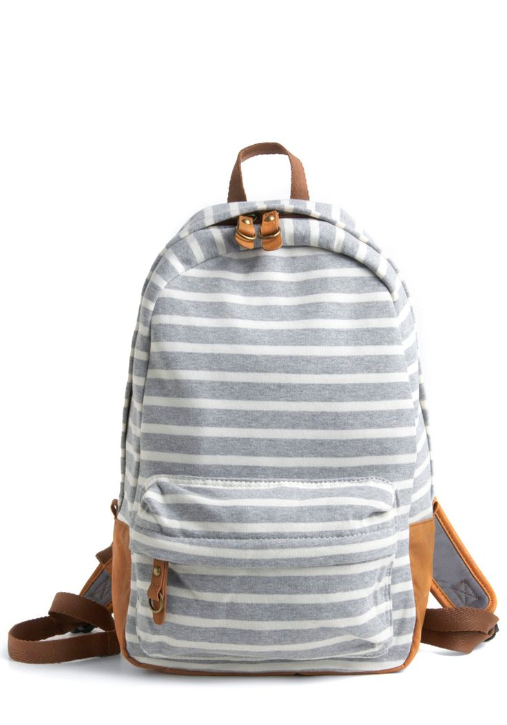 Walking Day Trip Backpack - Grey, Tan / Cream, White, Stripes, Pockets, Casual, Summer, Fall, Eco-Friendly