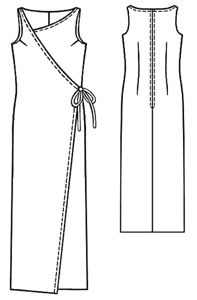 Simple long sleeveless dress. Free pattern in sizes, small, medium, large, extra large.
