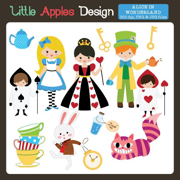 Alice in Wonderland Clipart - great for scrapbooking, cards, web design and more.