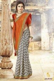 Off white and orange casual Sarees make with zig zag parinted pattern with half and half style and big multi thread color lace patta border work with unstitched blouse. #sarees #casualsarees # partywearsarees #laceborderedsarees